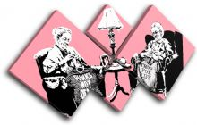 Knitting Grannies Banksy Painting - 13-0954(00B)-MP19-LO